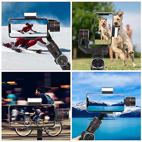 Zomei Smartphone Gimbal Handy Stabilisator mit 3 Achsen und Stativ Handheld Steadycam für Panoramaaufnahme, Gesicht und Objektverfolgung Kompatibel mit Phone Samsung Huawei und andere Handys
