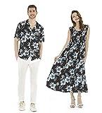 Couple Matching Hawaiian Luau Aloha Shirt Maxi Tank Dress in Midnight Bloom L