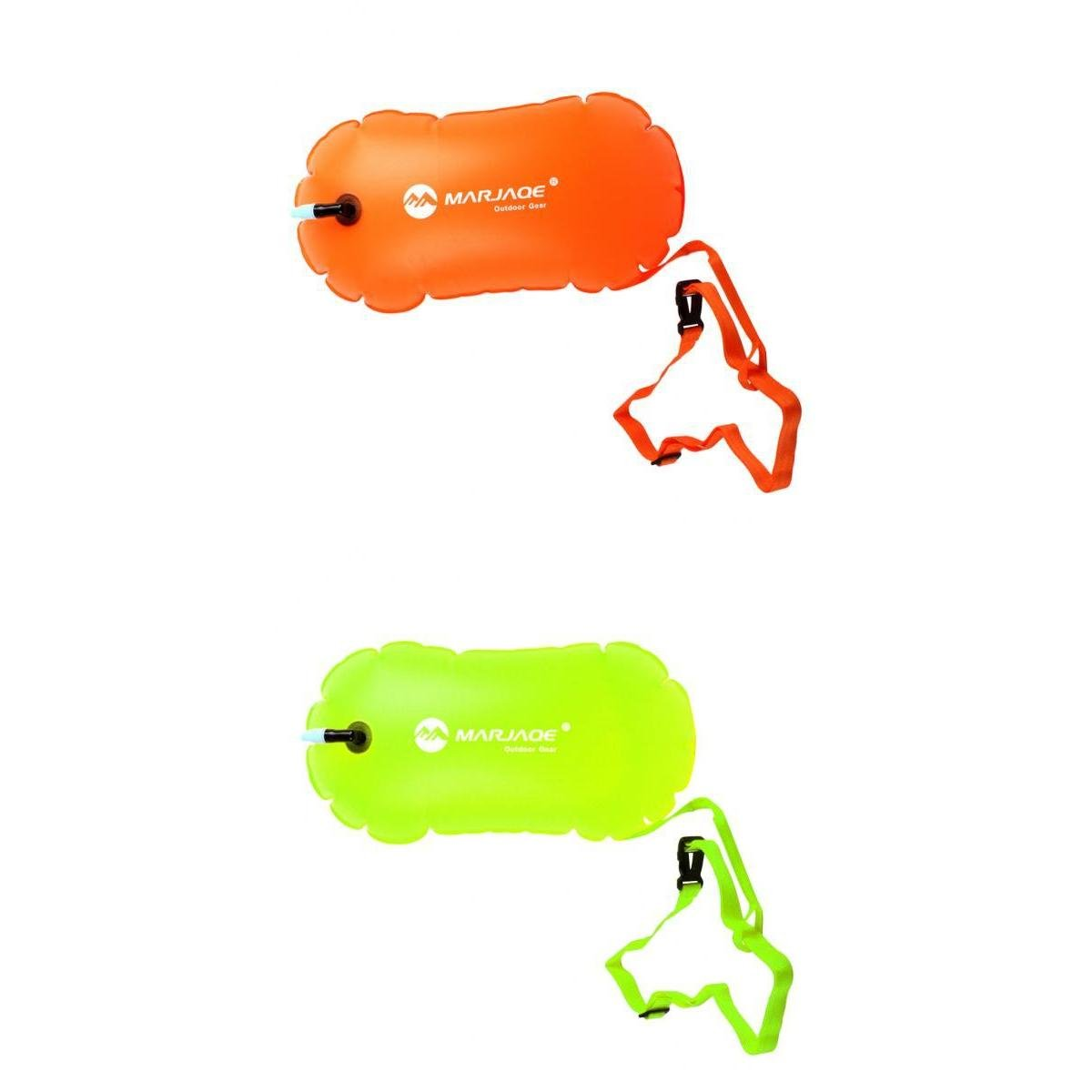 MagiDeal 2Pcs High Viz Inflatable Swim Buoy Tow Float Air Bag for Wild and Open Water Swimming Kayaking Fishing Snorkelling Stand Up Paddleboarding