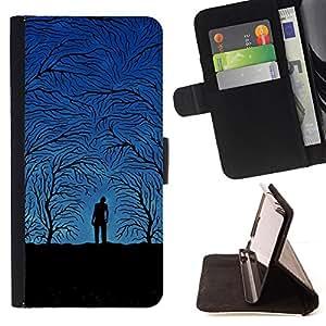 BullDog Case - FOR/Samsung Galaxy S5 V SM-G900 / - / Blue Night Forrest /- Monedero de cuero de la PU Llevar cubierta de la caja con el ID Credit Card Slots Flip funda de cuer