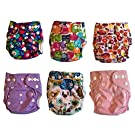 Newborn Girl Cloth Diaper 6-Pack Covers With Inserts