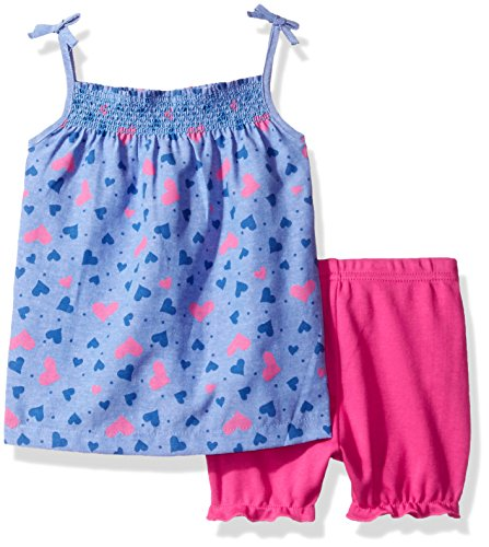 BON BEBE Baby Girls' 2 Piece Dress Set with Diaper Cover, Pink Chambray Hearts, 12 Months