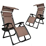 EACHPOLE 2-Pack| Infinity Zero Gravity Outdoor Lounge Chair with Sun Shield Protective Canopy and 2-Cup Holder, Brown, APL1560 Review