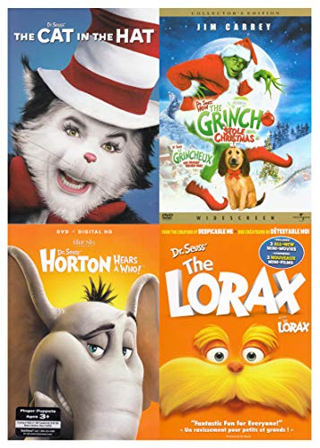 Dr. Seuss Pack (The Cat in the Hat / The Grinch Stole Christmas / Horton Hears A Who ! / The Lorax) -