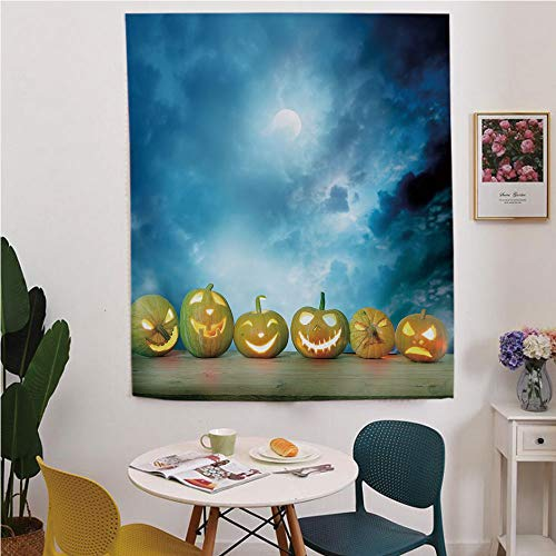 Halloween Blackout Window curtain,Free Punching Magic Stickers Curtain,Spooky Halloween Pumpkins on Wood Table Dramatic Night Sky Print Decorative,for Living Room,study, kitchen, dormitory, -