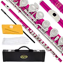 120-PK - HOT PINK/NICKEL Keys Closed C Flute Lazarro+Pro Case,Care Kit - 22 COLORS Available ! CLICK on LISTING to SEE All Colors