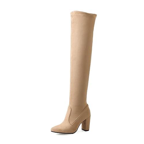 42526c1e5ca2 Oaleen Bottes femme cuissardes sexy suède élastique bout pointu chaussures  hiver talon bloc beige 32