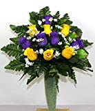 Gorgeous Yellow and Purple Roses Cemetery Arrangement For Mausoleum