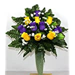 Gorgeous-Yellow-and-Purple-Roses-Cemetery-Arrangement-For-Mausoleum