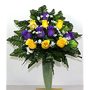 Gorgeous Yellow and Purple Roses Cemetery Arrangement For Mausoleum 3