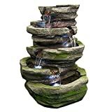 Sunnydaze Electric Lighted Cobblestone Waterfall Fountain with LED Lights, 31 Inch