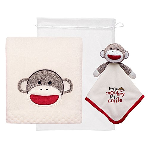 Design Sock Embroidery Monkey (Baby Starters 2-Piece Sock Monkey Snuggle Buddy and Blanket Set)