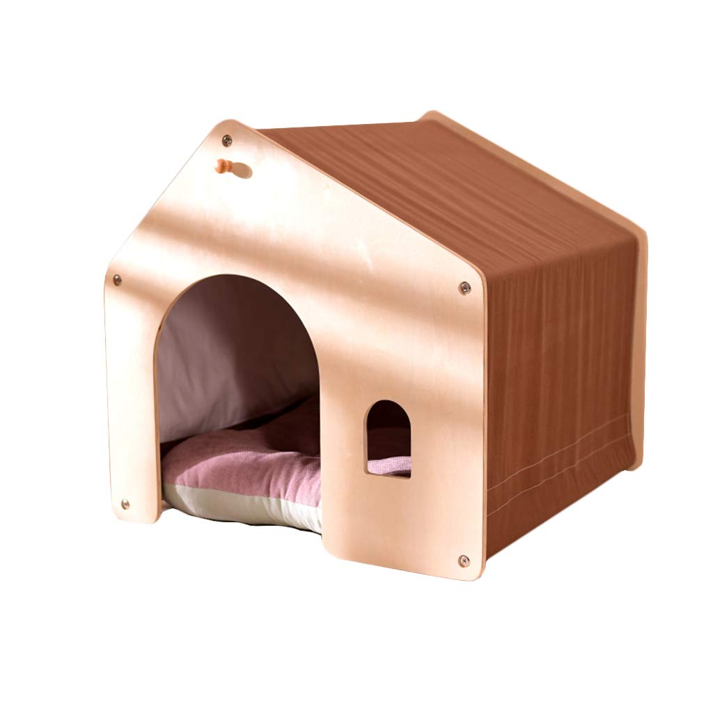 BROWN L BROWN L ZHAO ZHANQIANG Cat and dog house, wooden dog room, pet kennel, small and medium sized dog, indoor kennel, dog cat cage, windproof and warm (color   BROWN, Size   L)