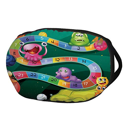 (Fashion Cotton Antidust Face Mouth Mask,Board Game,Colorful Cartoon Style Cute Aliens with Numbers in Curvy Line Fun Activity Theme Decorative,Multicolor,for women & men)