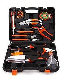 agile-shop 12 Juego de herramientas de jardín, Juego de diseño ergonómico profesional asas de tacto suave