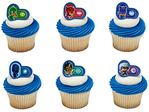 12 Cake Cupcake Ring - PJ Masks Heroes and Villians Cupcake Rings/Toppers - Set of 12