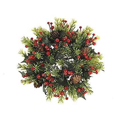 23cm Gold Poinsettia /& Baubles Christmas Candle Ring