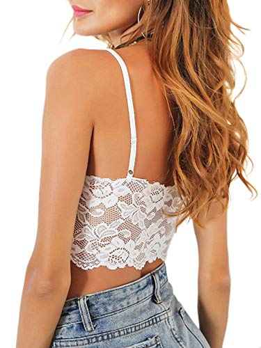 (SheIn Women's Summer V Neck Strappy Sleeveless Camisole Lace Crop Cami Tank Tops Small Back Lace White)