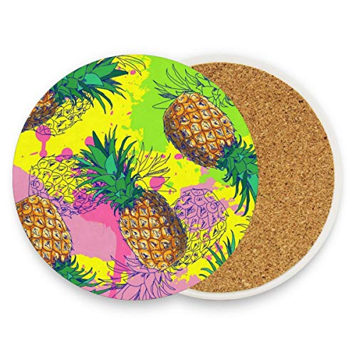 Coasters for Drinks,Tropic Fruit Pineapple Ceramic Round Cork Trivet Heat Resistant Hot Pads Table Cup Mat Coaster-Set of 4 Pieces