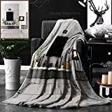 Ralahome Unique Custom Double Sides Print Flannel Blankets Contemporary Lounge With Fireplace Super Soft Blanketry for Bed Couch, Throw Blanket 40 x 60 Inches