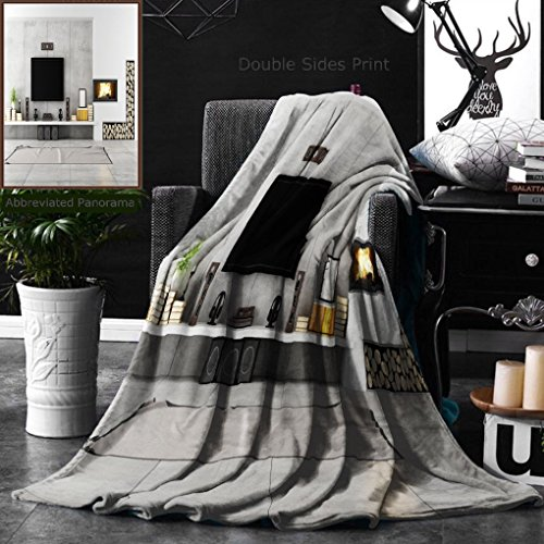 Ralahome Unique Custom Double Sides Print Flannel Blankets Contemporary Lounge With Fireplace Super Soft Blanketry for Bed Couch, Throw Blanket 40 x 60 Inches by Ralahome