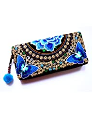 Wallet by WP Embroidery Butterfly Flower Zipper Wallet Purse Clutch Bag Handbag Iphone Case Handmade for Women, Blue Wallet