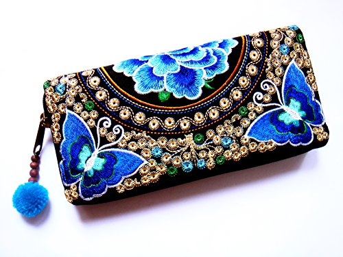 Wallet by WP Embroidery Butterfly Flower Zipper Wallet Purse Clutch Bag Handbag Iphone Case Handmade for Women, Blue Wallet