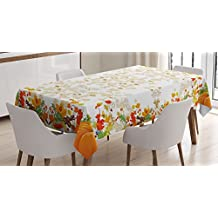 Thanksgiving Decorations Tablecloth by Ambesonne, Fall Colors Ladybug Maple Leaf Woods Pine Nuts Berries Decor Pattern, Rectangular Table Cover for Dining Room Kitchen, 60x84 Inch, WhiteYellow Orange