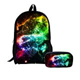 Cheap LedBack 3D Galaxy School Bag with Pencil Bag Polyester Backpack for School Boys Girls Elementary Children Teens Pen Holder Large Capacity Book Bag