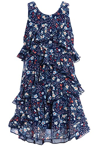 Truly Me, Big Girls' Sleeveless A-Line Dress with Cascading Ruffle Detail, Size 7-16 (Navy Floral, 16) - Clothes A-line