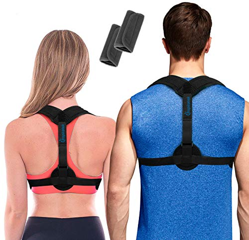Posture Corrector for Women & Men + Underarm Pads - Upper Back Spine Straightener Correction Slouching Brace - Best Upright Trainer Support Device for Under Clothes, Shoulder Support by Inspiratek
