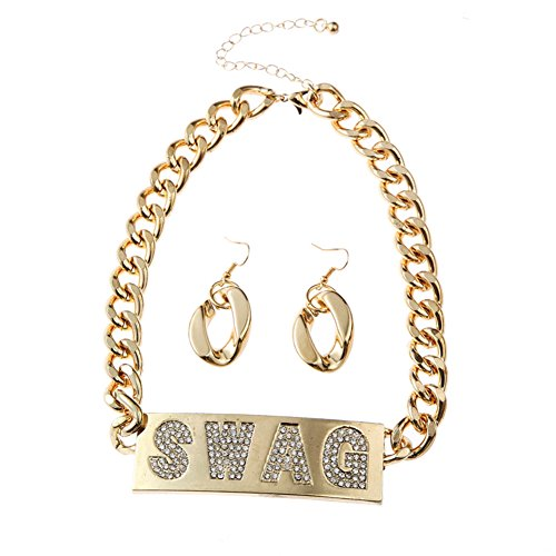 [Punk Hip Hop SWAG Jewelry Set Chunky Heavy Costume Jewelry (Gold color)] (Letter W Halloween Costumes)
