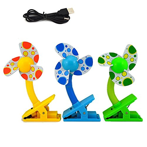 Wowlife Baby Stroller Fans USB Clip-on Baby Mini Stroller Fan for Strollers Baby Cots Playpens-Assorted Color