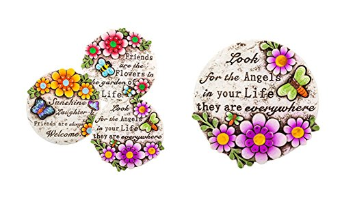 Spring Cement Stepping Stones with Inspirational Sayings, 6″ ~ Set of 3 As Pictured