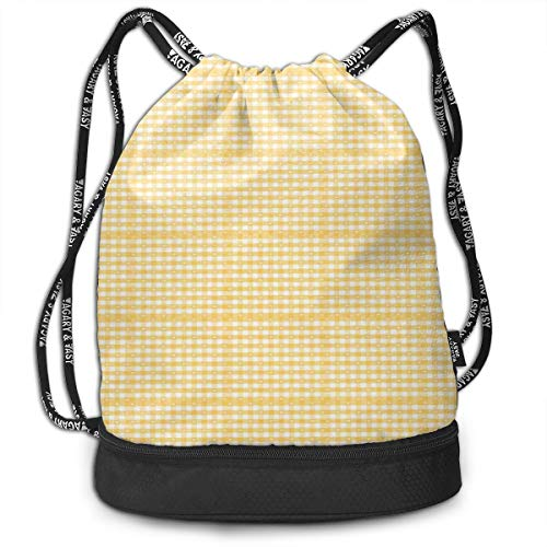 Drawstring Backpacks Bags,Gingham Pattern With Bicolor Checkered Squares With Heart ()