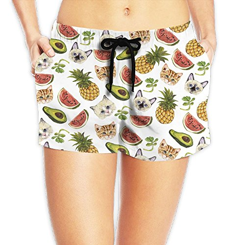 Avocado Pineapple Cat Womens Sports Beach Pants Swimming Trousers Leisure Boardshort Custom Shorts Breathable Beach Pants (Catwoman Costume Simple)