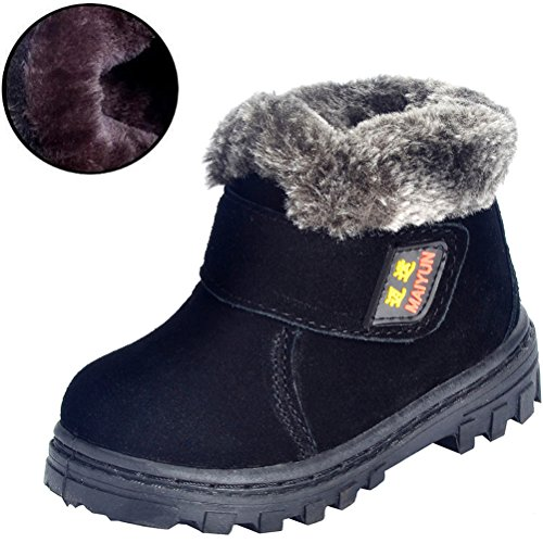 DADAWEN Boy's Girl's Classic Waterproof Suede Leather Snow Boots (Toddler/Little Kid/Big Kid)