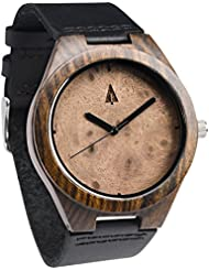 Treehut Mens Ebony Walnut Burl Wooden Watch with Genuine Black Leather Strap ...