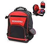 WORKPRO Backpack Tool Bag 60-pocket Jobsite Tote with Water Proof Molded Base