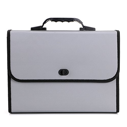 BTSKY26 Pockets Expanding File Folder with Handle-Poly Accordian File Organizer A4 US Letter Size Document Accordion File Folder Wallet Briefcase Style Business Portfolio Organizer (26 Pocket Expanding Poly Document)