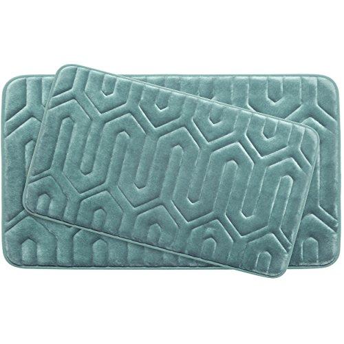 Bounce Comfort Extra Thick Memory Foam Bath Mat Set - Thea Premium Plush 2 Piece Set with BounceComfort Technology, 20 x 32 in. Marine Blue -  Bath Studio, YMB003728