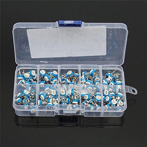 SODIAL 100 piezas caja RM065 Conjunto de surtido de potenciometro Trimpot horizontal de resistencia variable