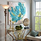 Artist Thick texture Hand-Painted Modern Abstract Turquoise and Gold Flower Canvas Art With a Landscape Oil Picture for Wall Decoration wall art