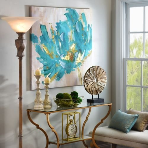 Artist Thick texture Hand-Painted Modern Abstract Turquoise and Gold Flower Canvas Art With a Landscape Oil Picture for Wall Decoration wall art by Fchen Art
