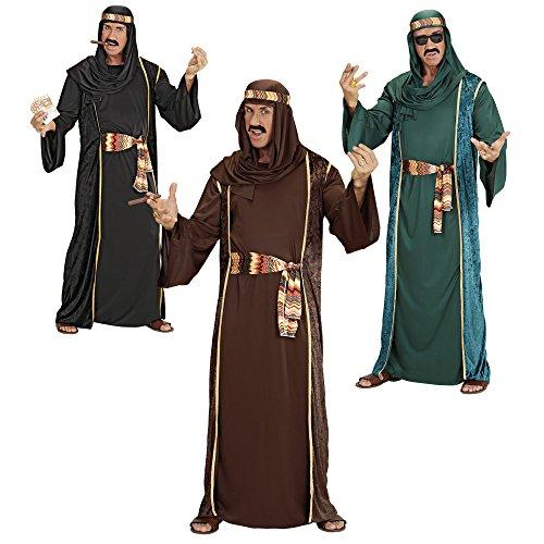 Arab Sheik Costume (l) Black/brown/green (robe Belt Hat)