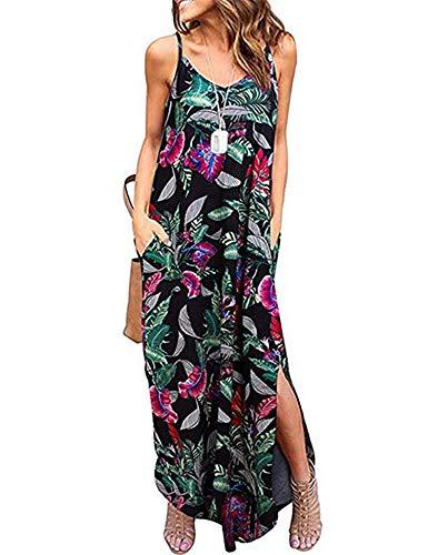 Summer Plus Size Work Dress V Neck Sleeveless Split Hem Long Dress