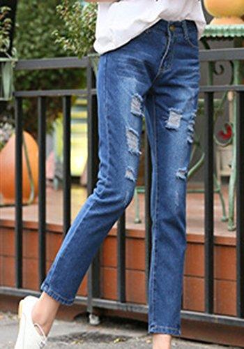 Bleu ZhuiKunA Lache Fonc Grande Simple Femmes 1 Taille Rtro Trous Denim Pantalons Jeans xwxqrvP