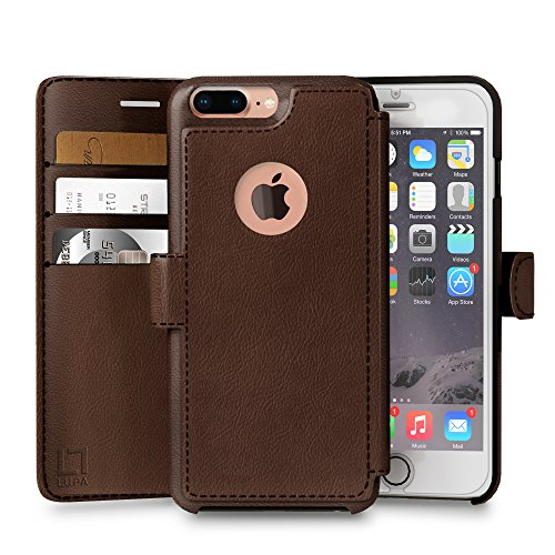 LUPA Wallet case for iPhone 8 Plus, Durable and Slim, Lightweight, Magnetic Closure, Faux Leather, Dark Brown (Case Brown Dark Leather)