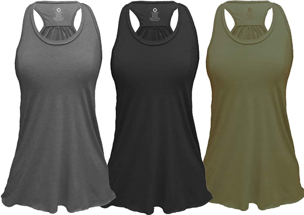Regular and Plus Sizes Pack of 3 Epic MMA Gear Flowy Racerback Tank Top