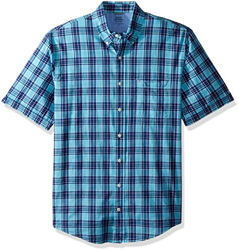 IZOD Men's Big and Tall Saltwater Dockside Chambray Short Sleeve Button Down Plaid Shirt, Blue Radiance, 3X-Large